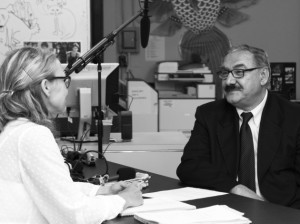 Dr. Kim Heikkila interviews Sami Rasouli, owner of the former Sindbad's Café and Market at 2528 Nicollet Ave. Photo by Rasun Mehringer