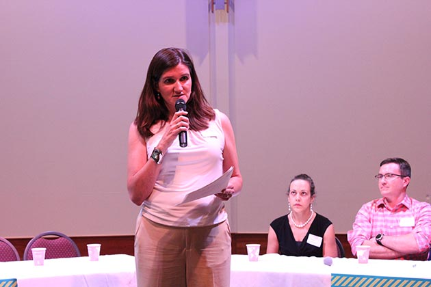 Ward 13 City Council Member Linea Palmisano spoke to the crowd at a listening session on policing. Photo by Dylan Thomas
