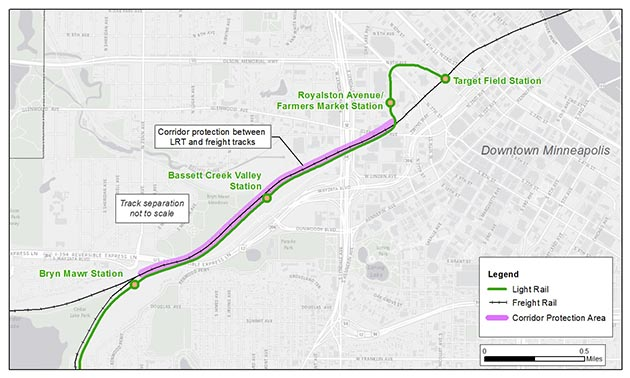 The Metropolitan Council agreed with BNSF to add a 10-foot-high, 3-foot-thick wall along a roughly mile-long stretch of the future Southwest Light Rail Transit corridor. Image courtesy Met Council