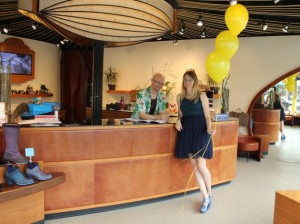 Jamie Liestman, pictured with Jeff Neppl at John Fluevog Shoes, launched the event.