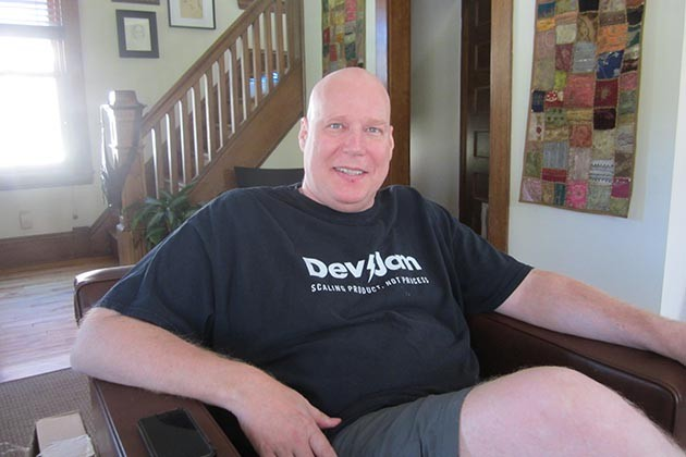 "DevJam and Studio 2 Café's David Hussman at home: ""I'm super inspired right now."" Photo by Jim Walsh"