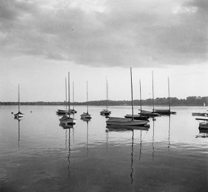sailboats at anchor Lake Clahoun 1950s TRA11.18.HCp11_bw