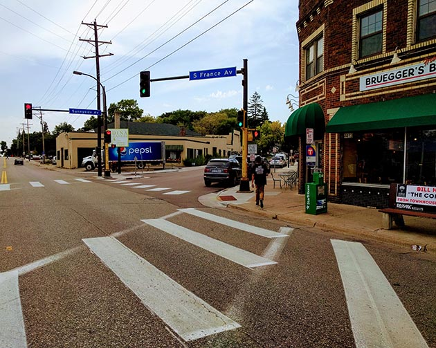 The 44th & France intersection on the border of Minneapolis and Edina. Photo by Brian Lambert