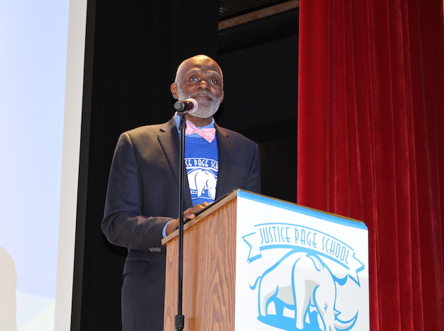 Alan Page delivers a speech at Justice Page Middle School during an assembly on Sept. 1. Photos by Nate Gotlieb