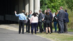The Metropolitan Council hosted local elected officials on a tour of the Wayzata Subdivision in late September. An agreement with BNSF calls for a new crash wall to be installed in the corridor as part of the Southwest Light Rail Transit Project. Submitted photo courtesy Met Council