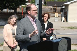 City Council Member Kevin Reich, who chairs the Transportation and Public Works Committee, at a press event announcing plans to adopt a Vision Zero policy for eliminating fatalities and serious injuries resulting from crashes. Photo by Dylan Thomas