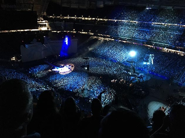 Best seat in the house for U2 at U.S. Bank Stadium may have been up, up and far away from the haters and trolls. Photo by Jim Walsh