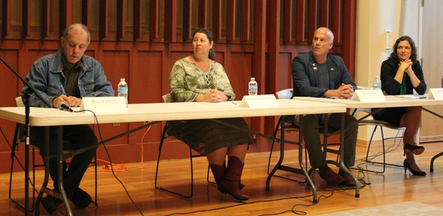 10th ward candidates Bruce Lundeen, Saralyn Romanishan, David Schorn and incumbent Lisa Bender at a candidate forum Oct. 3.