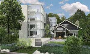 A rendering of a proposed four-story condo building near Lake Harriet. Rendering from city of Minneapolis documents