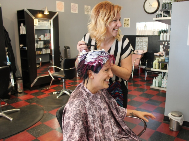 Michelle Schulp, pictured with stylist Hannah Feliz, said she likes Fox Den's inclusive vibe.