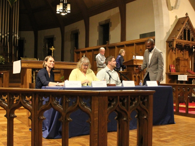 Candidates Janne Flisrand, incumbent Lisa Goodman, Joe Kovacs and Teqen Zéa-Aida (l to r) appeared at a forum at St. Paul's Episcopal Church.