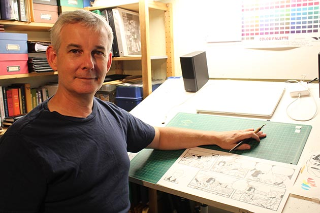 """Sally Forth"" artist Jim Keefe in the basement studio at his home in Kingfield. Photo by Dylan Thomas"