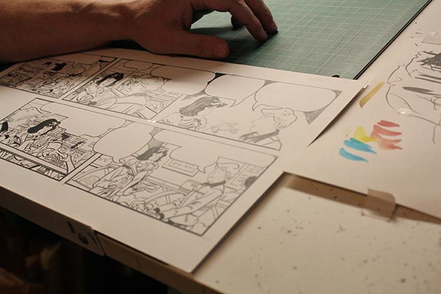 "A ""Sally Forth"" strip in progress on Keefe's drafting table. Photo by Dylan Thomas"