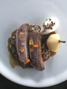 Duck breast paired with rye porridge and stewed Seckel pear. Submitted photo