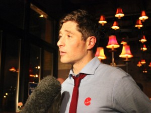 Jacob Frey celebrated election night with supporters at Jefe in Marcy-Holmes. Photo by Eric Best