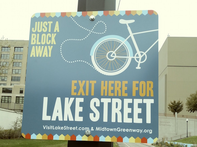 New wayfinding signage along the Midtown Greenway. Photos courtesy Midtown Greenway Coalition