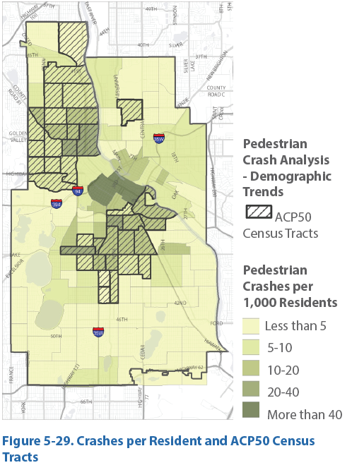 Ped crash per pop with equity map