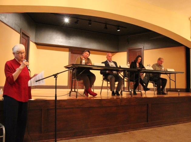 The League of Women Voters moderated an Oct. 17 forum with candidates (l to r) Saralyn Romanishan, David Schorn, Lisa Bender and Bruce Lundeen.