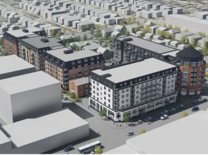 An overview from the northeast of the Sons of Norway project, located south of Lake Street between Holmes and Humboldt. Rendering courtesy of Ryan Companies