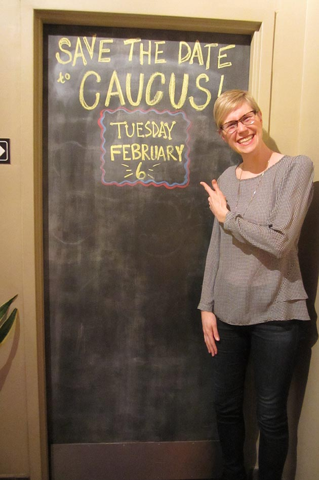 "Meggie Wittorf, who hopes to earn the DFL endorsement to represent South Minneapolis's district 61B in the Minnesota House of Representatives, in Studio 2 Café's back room: ""2018 is 'Go Time.'"" Photo by Jim Walsh"