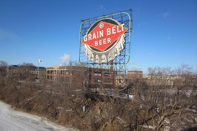 No more darkness on the edge of downtown: The 76-year-old Grain Belt Beer sign comes back to life Saturday at sundown. Photo by Jim Walsh