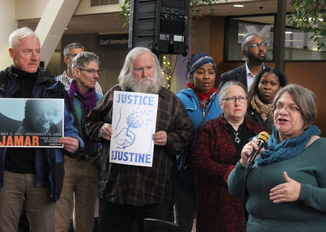 Jess Sundin, a member of the Twin Cities Coalition for Justice 4 Jamar, speaks at a press conference Tuesday.