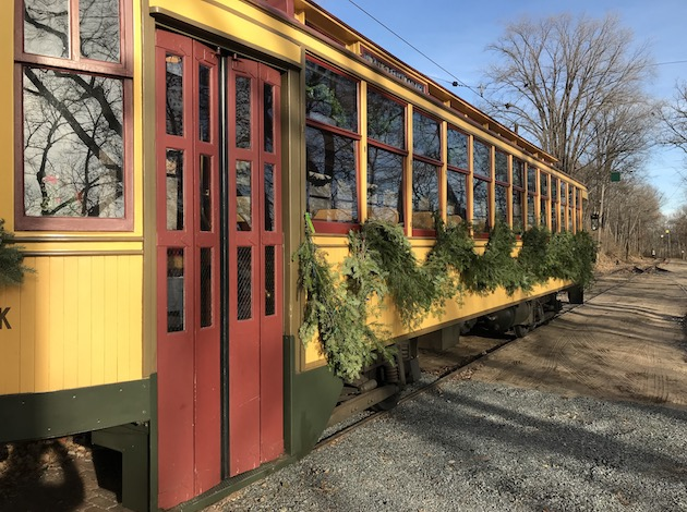 A Minnesota Streetcar Museum streetcar sits ready for a holiday ride on the museum's final weekend of operation for 2017.