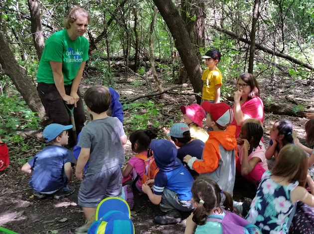 Alyson Quinn, founder and board chair of the Minneapolis Nature Preschool, leads a summer camp this past June. Photo courtesy Alyson Quinn