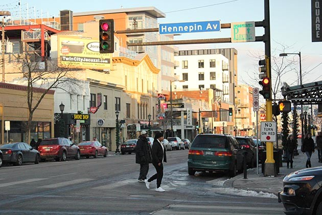 The Lake & Hennepin intersection ranked fourth in the city for most pedestrian crashes 2007–2016. Photo by Dylan Thomas