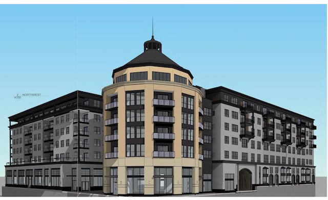 The City Planning Commission is expected to vote in the coming weeks on a proposal to build about 319 apartments, retail, a new headquarters for the Sons of Norway and four-season public space at 1455 W. Lake St. Image courtesy of East Calhoun Community Organization