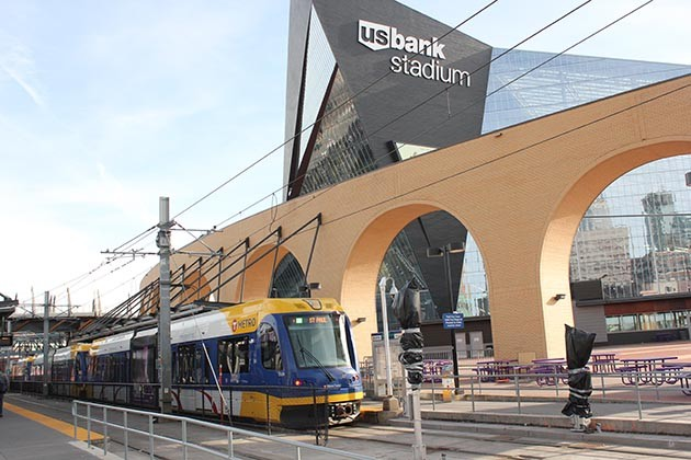 A METRO Green Line train at U.S. Bank Stadium Station. Unionized transit workers are planning to strike during the Super Bowl if they can't reach a contract agreement with the Metropolitan Council. File photo
