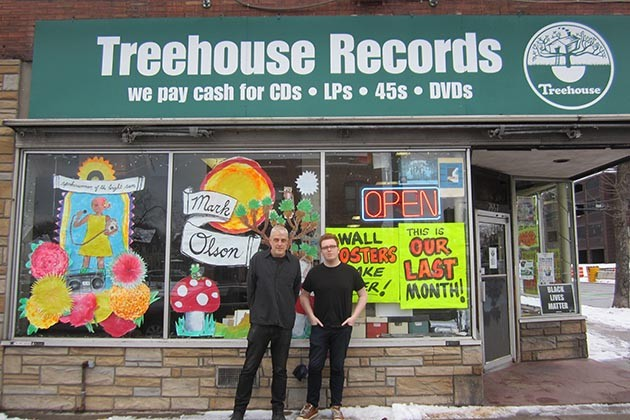 Treehouse Records' Jeffrey Hermann and Thomas Sutton and the storefront that holds a million Minneapolis musical memories. Photo by Jim Walsh