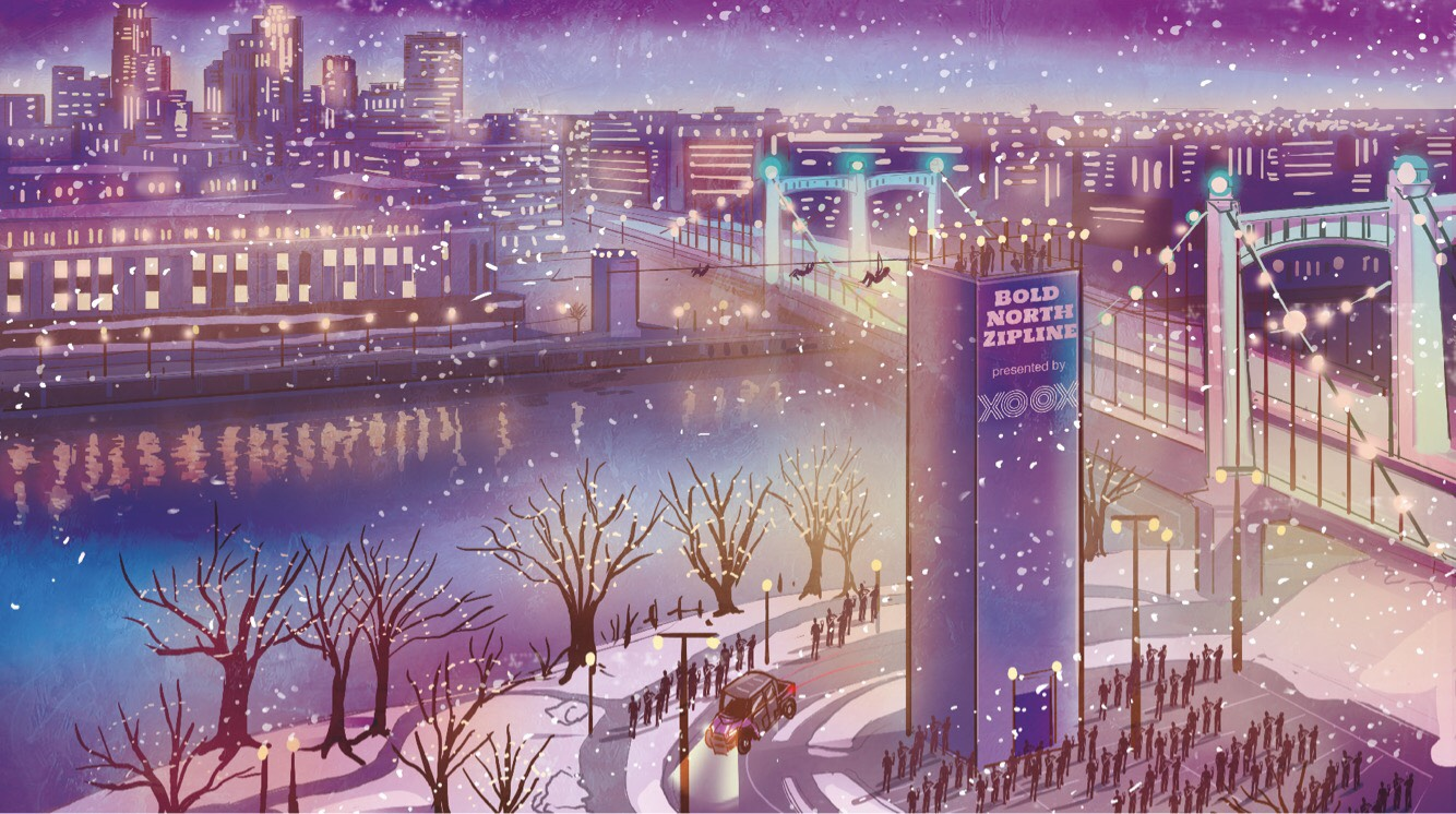 Visitors to Minneapolis will be able to ride across the Mississippi River via zip line during the week leading up to the Super Bowl. Rendering courtesy Minnesota Super Bowl Host Committee