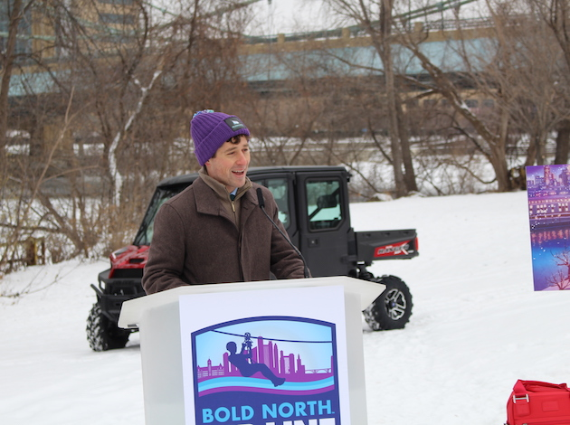 Mayor-elect Jacob Frey speaks at a press conference Dec. 14 about plans for a zip line during the Super Bowl festival. Photo by Nate Gotlieb