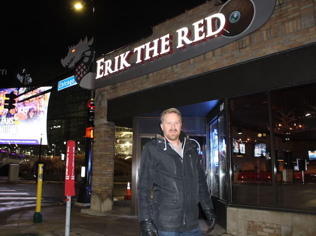 "Erik Forsberg, owner of Erik The Red, a bar and restaurant next to U.S. Bank Stadium, is preparing for a busy Super Bowl week. ""Business is going to be great,"" he said. Photo by Nate Gotlieb"