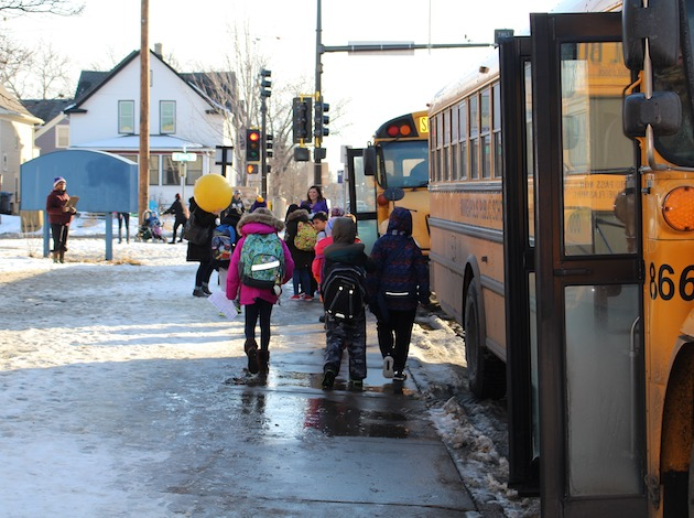 Lyndale students get on their school buses on a recent afternoon.