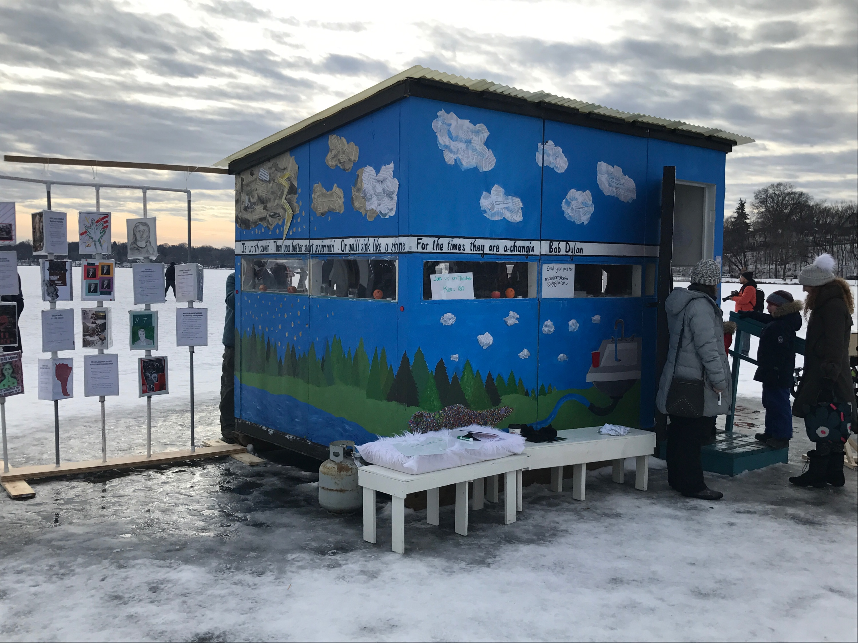 Southwest High School students created a project for the Art Shanty Projects festival on Lake Harriet. Photo courtesy Megan Marsnik