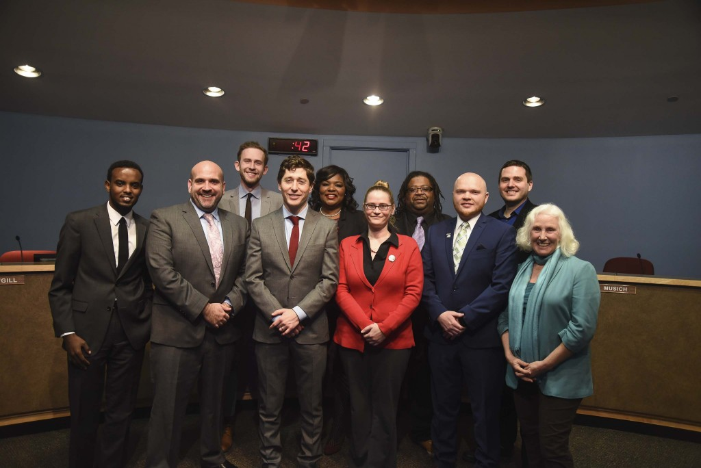 The 2018 Minneapolis Park and Recreation Board posed with Mayor Jacob Frey (front, center-left) during a Jan. 2 swearing in ceremony. Photo courtesy of the Minneapolis Park and Recreation Board