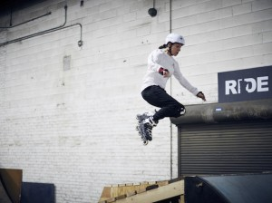 Armatage resident and Crashed Ice athlete Myriam Trepanier sports a Saint Minneapolis long-sleeve shirt on a practice run at The Factory skate and BMX park in Northeast. Photo by Anna Rajdl