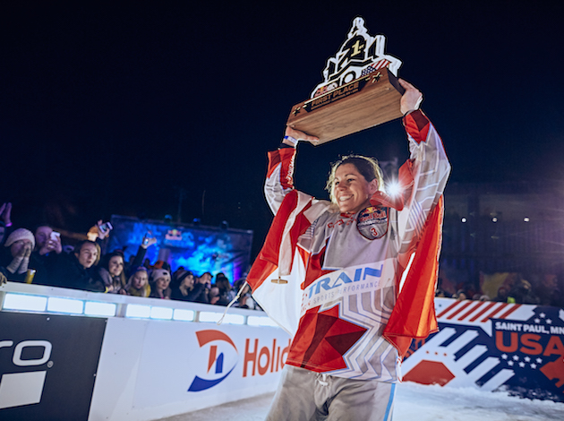 Trepanier celebrates after winning a Red Bull Crashed Ice event in St. Paul. Photo by Balazs Gardi/Red Bull Content Pool