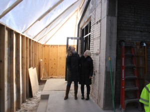Heather Rose-Dunning (l) and Kim Batcheller are building a co-working space and restaurant in the former Gaytee Stained Glass property.