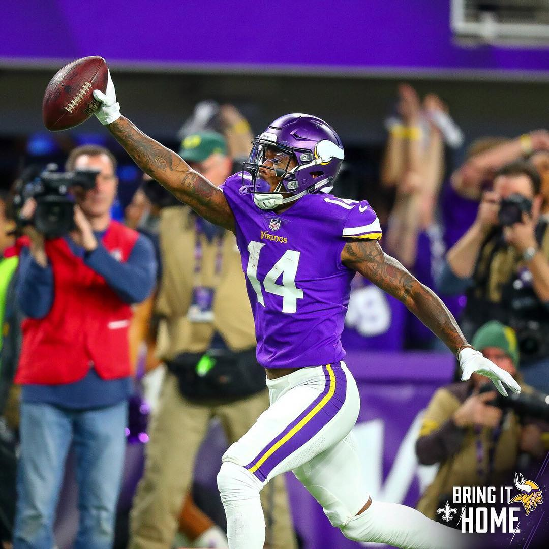 Stefon Diggs on his way to the end zone and into our broken purple hearts forever. Photo courtesy Minnesota Vikings