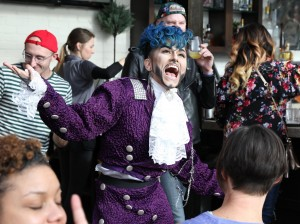 Drag king Damien D'Luxe performs at a Flip Phone brunch at Union Bar & Grill. Photo by Billy Briggs