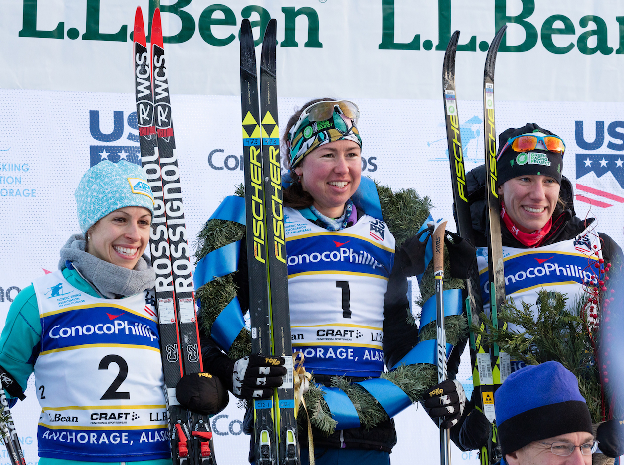Longtime Fulton resident and Southwest High School graduate Rosie Frankowski (left) stands on the podium after taking second in the 20-kilometer race at the U.S. National Championships on Jan. 7 in Anchorage, Alaska. Frankowski was one of 11 women selected to the U.S. women's cross-country ski team for the 2018 Olympics. Photo courtesy Alaska Pacific University Nordic Ski Center