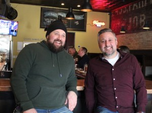 Pat McDonough (l) and Jeremy Woerner at Blue Door Pub, now open in the former Country Bar space.