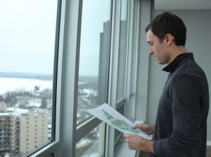 Bader Development President Robb Bader inside a new penthouse at Calhoun Towers.