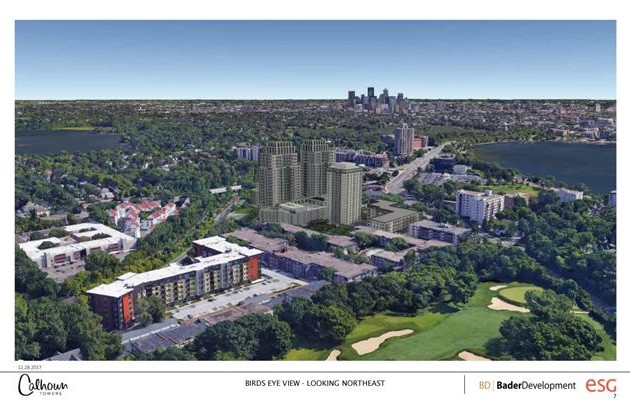 A view of the proposed Calhoun Towers project looking toward the northeast.