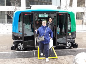 A passenger departs after a ride on the EZ10 shuttle in January on Nicollet Mall. Photo courtesy Hennepin County