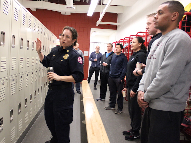 Staff Captain Stephanie Johnson trains cadets at the Emergency Operations Training Facility.