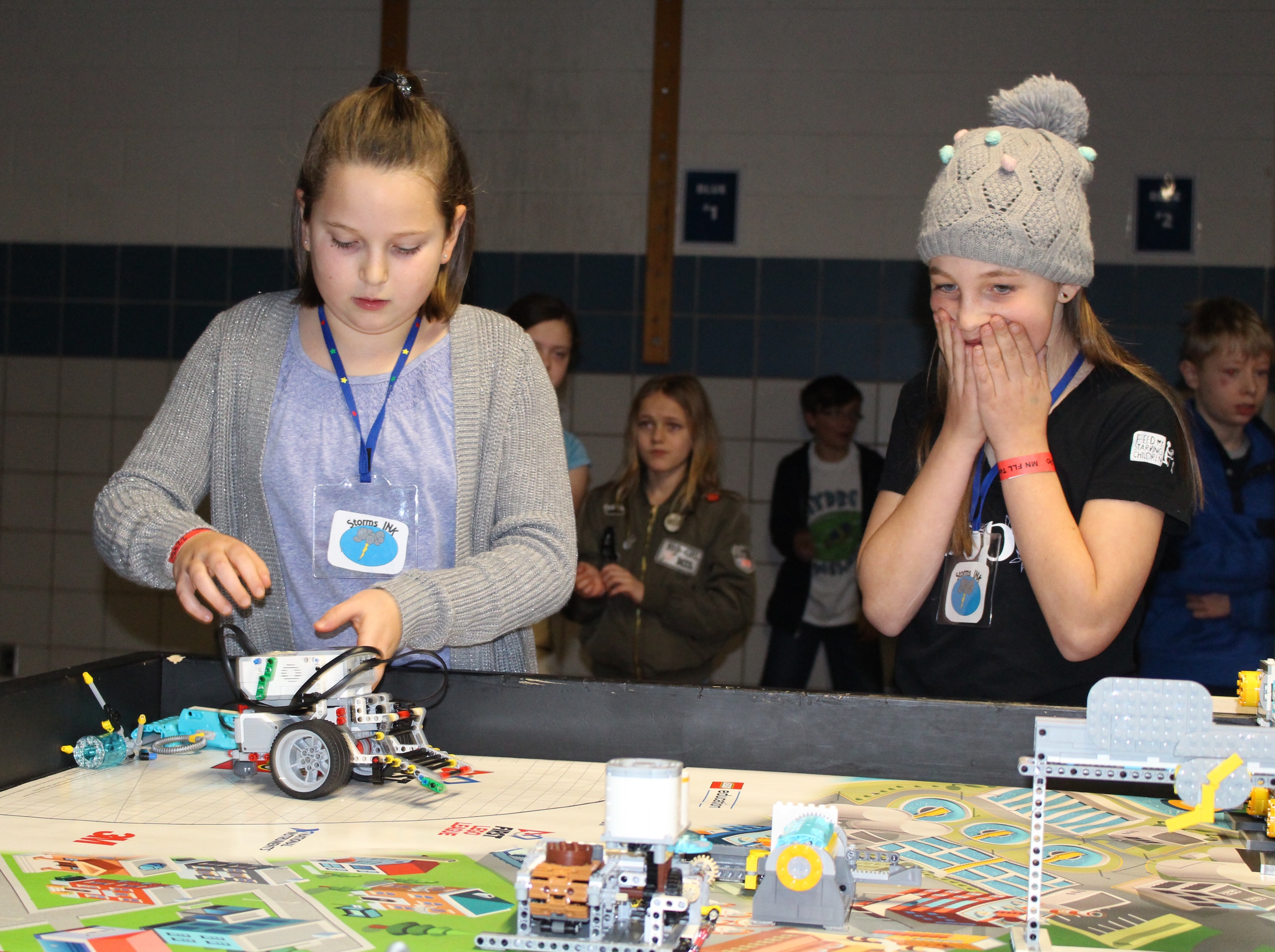 Lake Harriet Community School fifth-graders Ayla Stuke and Julia Horgan at Minneapolis Public Schools' First Lego League tournament.